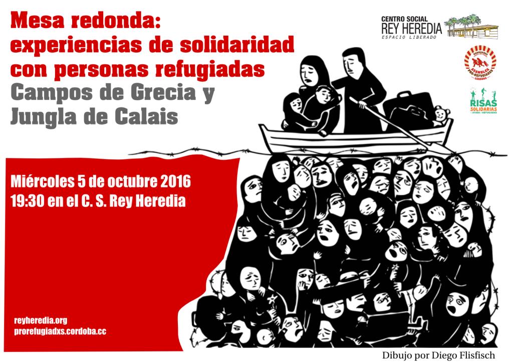 Cartel de la mesa redonda sobre experiencias de solidariadad con personas refugiadas