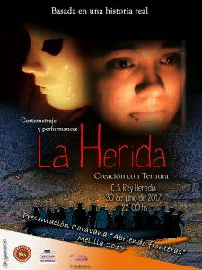 Cartel de promoción del cortometraje La Herida. viernes 30 de junio a las 22h en el Centro Social Rey Heredia.