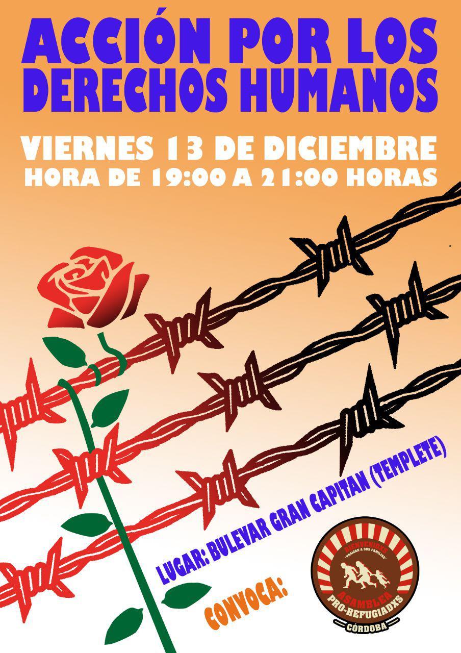 Cartel acción Día Internacional de los Derechos Humanos. Viernes 13 de diciembre a las 19h en el Bulevar