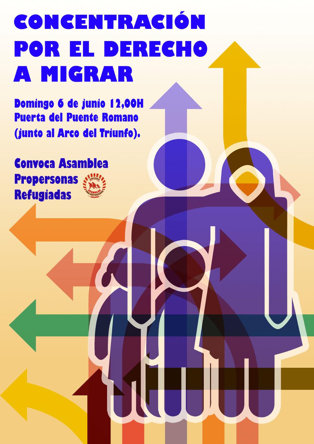 Cartel concentración por el derecho a migrar